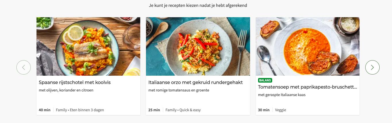 Hellofresh vegetarisch menu